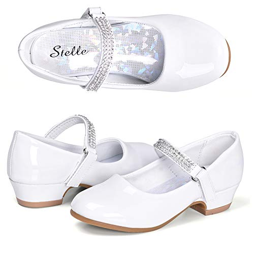 STELLE Girls Mary Jane Shoes Low Heel Party Dress Shoes for Kids (8MT, White)