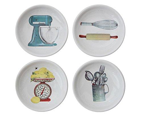 Vintage Style Various Designs White 3 x 3 Stoneware Decorative Dishes, Set of 4