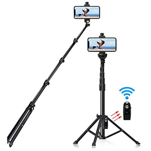 Selfie Stick Tripod, 54 inch Extendable Tripod Stand Phone Tripod Camera Tripod Wireless Remote Shutter Compatible with…