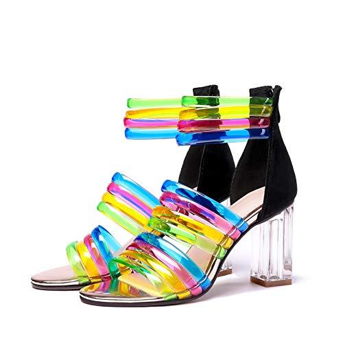 1 MENGLTX High Heels Sandalen Neue Frauen High Heels Sommer Sandalen Fashion Brand Bunte Party Hochzeit Schuhe Frau Peep Toe Prom Pumps