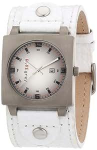 Pure grey 1423 AW - Reloj unisex de cuarzo, correa de piel color blanco