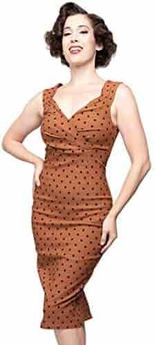 ac8290c33f33 Steady Clothing Women's Polka Dot Diva Pinup Sleeveless Pencil Dress