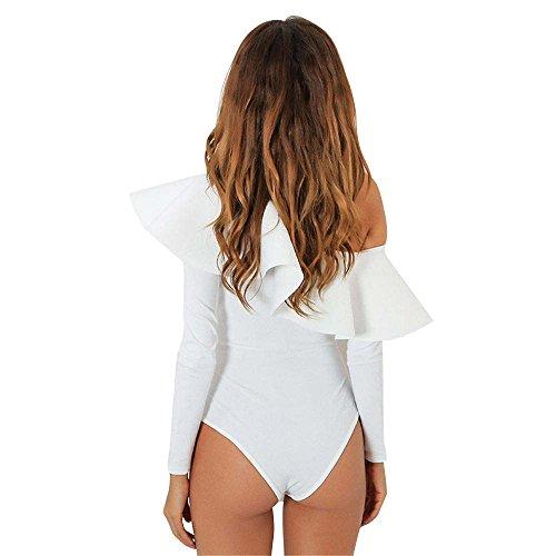 *flower* Women's Off Shoulder Ruffle Long Sleeve Bodycon Jumpsuit Bodysuit Leotard