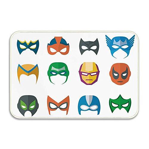 Huayuanhurug Superhero Hero Mask Female Male Costume Machine Washable Mat for Bathroom,Kitchen,Bedroom,Office, Kid's Room,Home Decor Indoor Oudoor 16x24 -