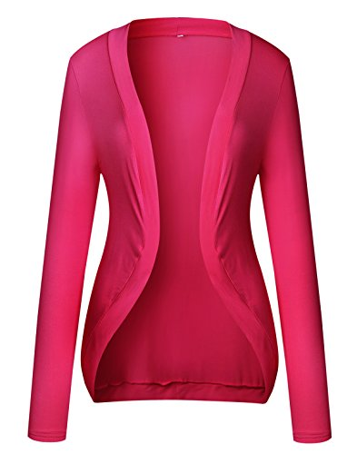 Women's Casual Open Front Ultra Soft Modal Long Sleeve Cardigan, Hot Pink 2XL (Hot Outfits For Women)