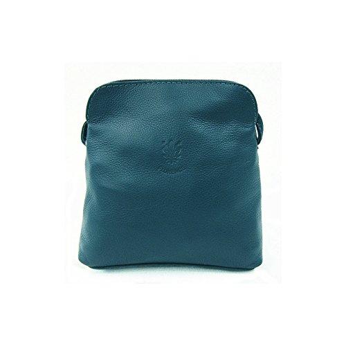 Real Italian Soft Leather Navy Cross Body Shoulder Bag Handbag Dark Teal