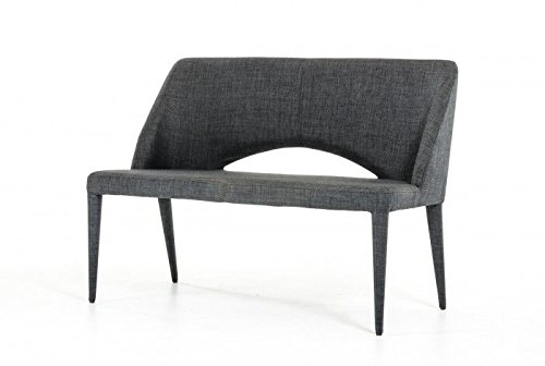 Limari Home The Maree Collection Mid Century Modern Fabric Upholstered Metal Dining Accent Bench Seat With Back (Upholstered Bench With Back)