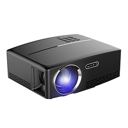 MTFY Projector-Mini Portable Video Projector-1800 Lumens LED Home Theater Projector-Support HD 1080P HDMI USB VGA AV for PC/Laptop/DVD/TV /Video/Photo/Game/Movie by MTFY