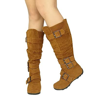 Womens Knee High Boots Ruched Leather Buckles Knitted Calf,Tan,5.5