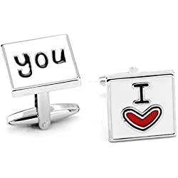 "RevoLity ""I LOVE"" Series Heart Cufflinks Cuff Buttons Enamel Cuff Links for Christmas/ Fathers' Day/ Valentine's Day/ Memorial Day Jewelry Gift (I Love You)"