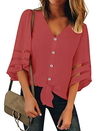 Luyeess Women's Casual V Neck Loose Mesh Panel Chiffon Button Up Front Tie Knot 3/4 Bell Sleeve Blouse Top Shirt Tee Coral, Size S(US 4-6)