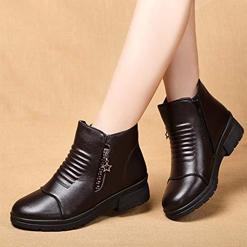 Bozevon Femmes Chaussures Dames Coton Pour Hiver Bottine Marron Cuir En Plus Antidérapantes q64qgrx