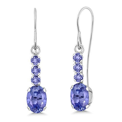 1.14 Ct Oval Blue Tanzanite 10K White Gold Dangle Earrings by Gem Stone King