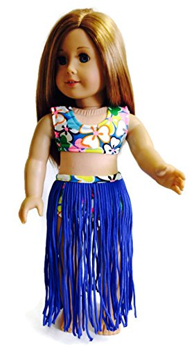 Doll Clothes 3 pc Blue Hawaiian Hula Swimsuit Set Fits American Girl Doll and Other 18 Inch Dolls by Dori's Boutique