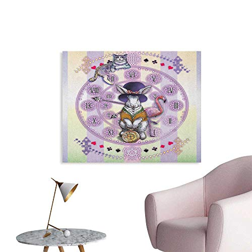 Anzhutwelve Animal Photographic Wallpaper Alice in Wonderland Rabbit and Cat Fiction Story Novel Child Display Story Space Poster Lilac Pale Yellow W32 xL24]()