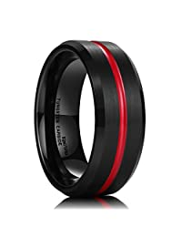 King Will Thin Red Groove Black Brushed Tungsten Carbide Wedding Band Ring Comfort Fit