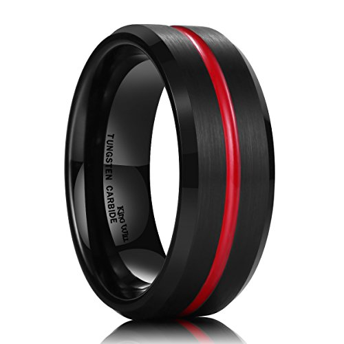 King Will Thin Red Groove Black Brushed Tungsten Carbide Wedding Band Ring Comfort Fit 10 ()