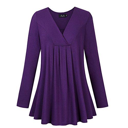 Cotton Metallic Blouse - AMZ PLUS Women's Plus Size Flowy Tops V-Neck Loose Blouse Casual Tunic Shirt Purple XL