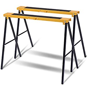 Goplus 2-Pack Sawhorse Pair Heavy Duty Folding Legs Portable Saw Horses Twin Pack, 250 lb Weight Capacity Each
