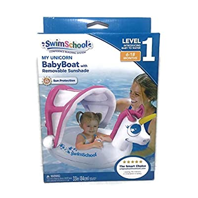 SwimSchool My Unicorn Baby Boat Inflatable Float with Sunshade: Toys & Games