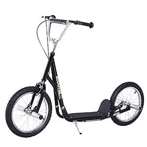 Patinete Scooter 2 Ruedas16 Pulgadas 4 PEGS Estribos Freno Caballete Color Negro