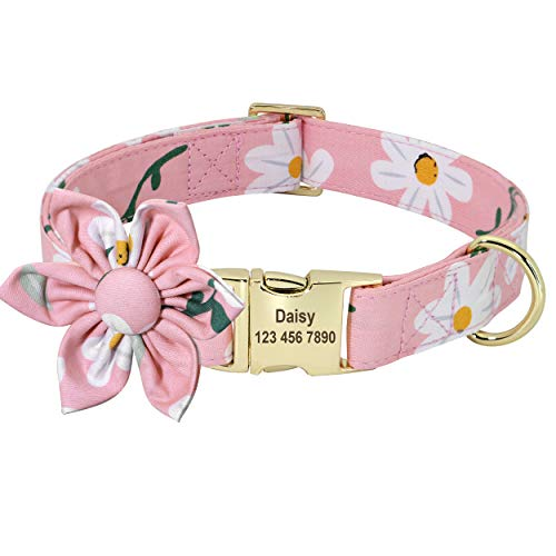 Beirui Custom Flower Girl Dog Collar for Female Dogs- Floral Pattern Engraved Pet Collars with Personalized Gold Buckle(Daisy , L)