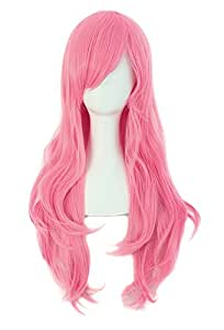 "MapofBeauty 28"" 70cm Long Curly Hair Ends Costume Cosplay Wig (Pink)"