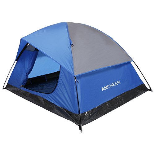 ANCHEER Camping Tent 2 Person, 3 Season Backpacking Tent Waterproof (Sky blue with rainfly)