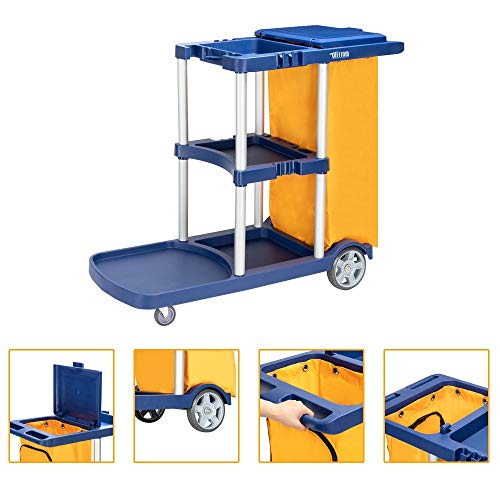 "TUFFIOM Commercial Traditional Cleaning Janitorial 3-Shelf Cart, 500 Lbs Capacity Housekeeping Cart, 42.5""L x 18.7""W x 37.6""H, Wheeled with 22 Gallon Zippered Yellow Vinyl Bag and Cover, Blue"