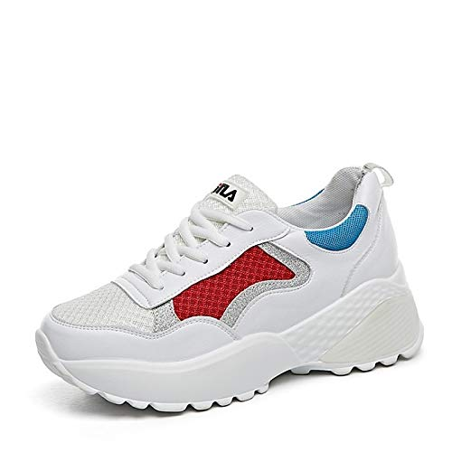 ZHZNVX Zapatos de Mujer Nappa Leather Spring & Summer Comfort Sneakers Flat Heel Rojo/Verde Red