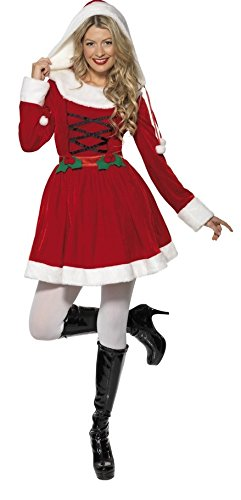 59bf82e0607 Ladies Holly Claus Miss Santa Xmas Mrs Christmas Festive Fancy Dress  Costume Outfit (UK 12-14)  Amazon.co.uk  Clothing