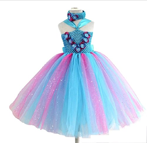 Poppi Blue and Pink Tutu Dress w/Headband from Chunks of Charm (7, Tutu Dress)