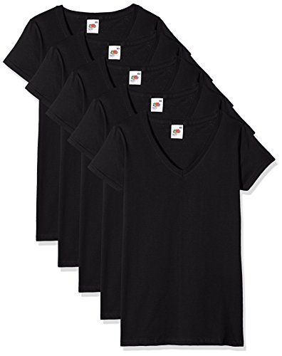 Noirblack shirtlot Of Fruit De 36 The LoomValueweight 5Femme T K1JFT3lc