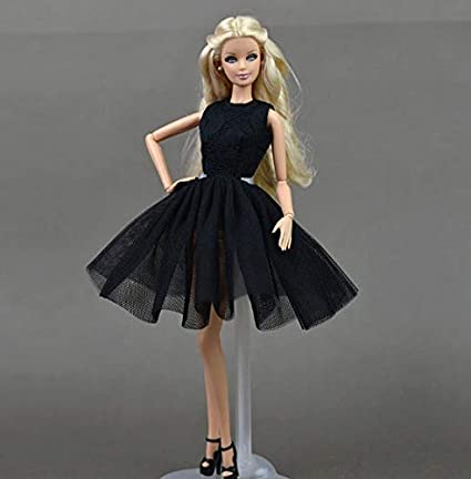 Amazon Com Studio One Blacklace Dress Skirt Evening Party Princess Gown Fashion Clothes For 11 5 Inch Doll Girl Toys Games