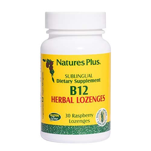 (Natures Plus B12 Herbal Lozenges (Methylcobalamin) - 1000 mcg, 30 Raspberry Sublingual Lozenges - Maximum Absorption Vitamin Supplement, Mood & Energy Booster - Vegetarian, Gluten Free - 30 Servings)