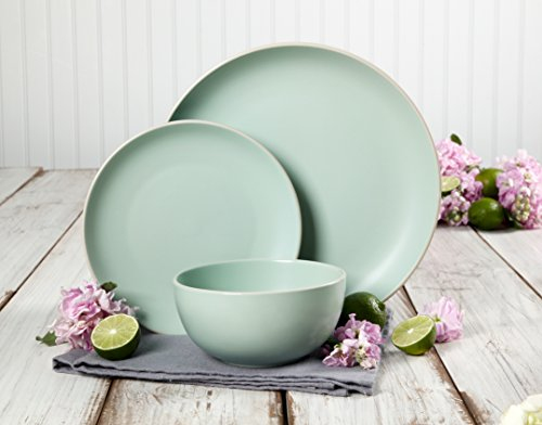 Gibson Home Rockaway 12-Piece Dinnerware Set Service for 4, Teal Matte by Gibson Home (Image #5)