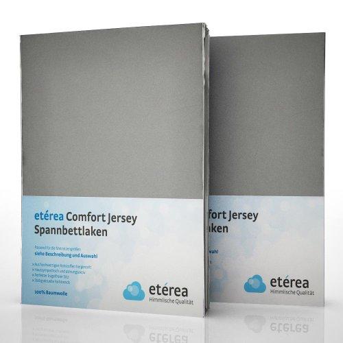 2er / Doppelset etérea Comfort Jersey Spannbettlaken Spannbetttuch Frost Grau in 140x200 - 160x200 cm