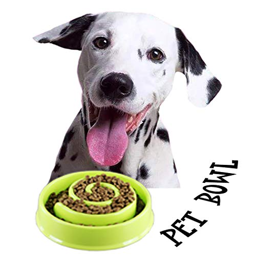 Petea Slow Feeder Dog Bowl Pet Puppy Food Water Eating Bowls Fun Feed Interactive Bloat Stop Dog Bowl for Dogs and Cats (Green, Circle)