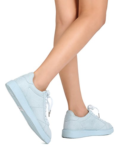 Qupid FE91 Women Faux Suede Almond Toe Lace Up Sneaker - Light Blue J55dOM0g