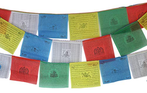 (Nervana Tibetan Prayer Flag 10 x 10 Inches Large Roll of 25 Flags – Traditional Design with 5 Element Colors – Lung Ta Wind Horse Outdoor Flags)