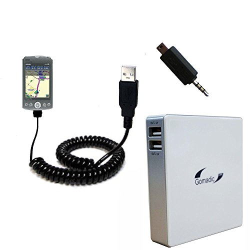 - Gomadic High Capacity Rechargeable External Battery Pack suitable for the Garmin iQue M5