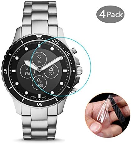 Anti-Bubble Clear Film Lonlonking 4-Pack Screen Protector Compatible with Fossil Hybrid Smartwatch HR FB-01 Full Coverage