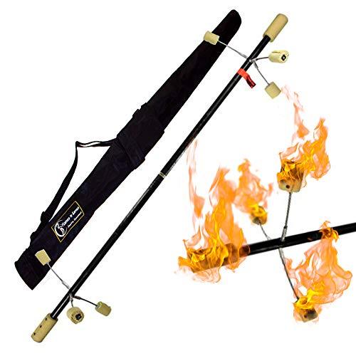 GORA Spike FIRE Staff - 1.5m - 2X 100mm Kevlar Wicks + Travel Bag! Professional Fire Spinning Staffs -