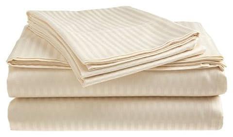 Queen Size 400 Thread Count 100% Cotton Sateen Dobby Stripe Sheet Set -Ivory - Cotton Stripe Sage