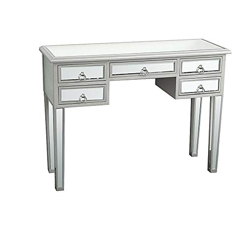 - Rabinyod Bulan 5 Drawer Mirrored Vanity Make-Up Desk Console Dressing Silver Glass Table Modern