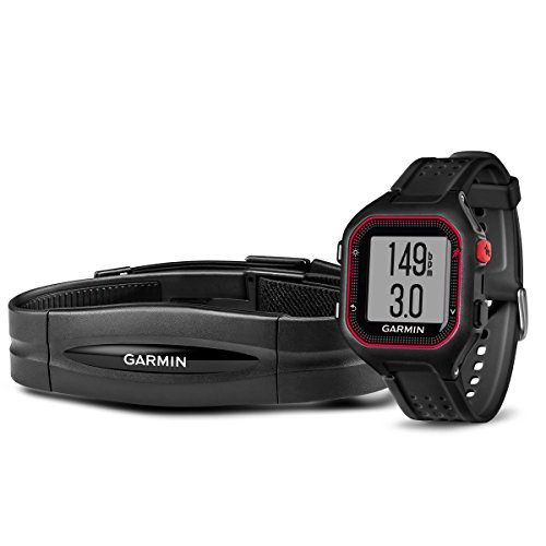 Garmin Forerunner 25 Bundle with Heart Rate Monitor (Large) - Black and Red by Garmin