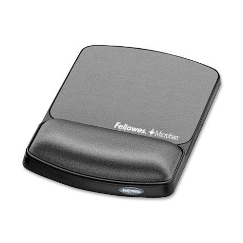 Gel Wrist Rest & Mouse Pad with Microban, Black () - Fellowes 9175101