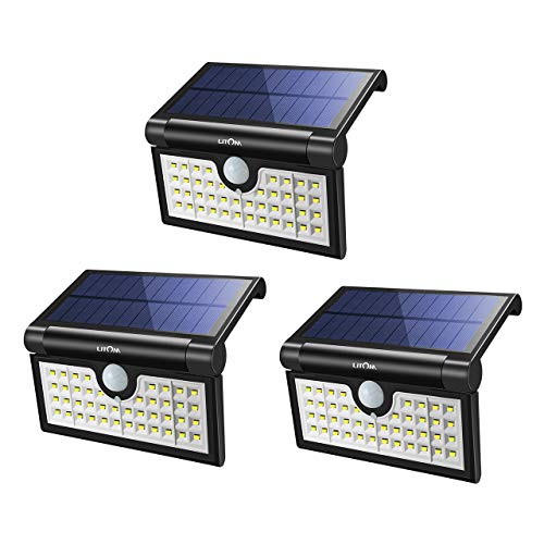 Litom Foldable Solar Lights Outdoor 42 LED, 2-in-1 Motion Sensor Waterproof Solar Lights, Super Bright Solar Portable LED Camping Lights for Driveway, Patio, Yard, Garden, Camping, House (2 Pack)