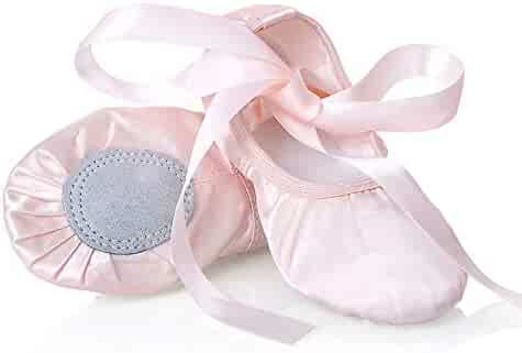 XJX Girls Leather Ballet Shoes Split Sole Ballet Slipper Flat Dance Shoes for Toddlers//Little Kid//Big Kid//Women