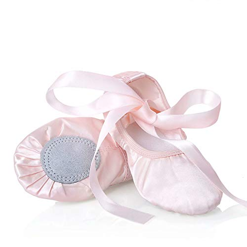 XJX Satin Ballet Shoes for Girl Leather Split Sole Dance Slippers Yogu Shoes Pink 01 33